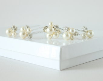 Swarovski Pearl and Rhinestone Luxe Hair Pin Set-Rhinestone and Pearl Hairpins-Style No.HP114