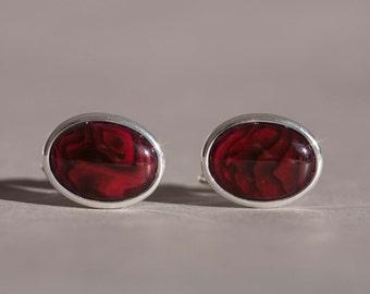 Red abalone cuff links, red shell cufflinks, red cufflinks