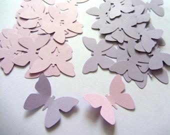 Paper butterflies 100 die cut butterflies, die cuts, wedding decorations, scrapbooking, weddings, light purple butterflies