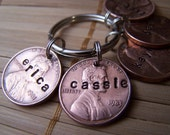 Personalized, Hand Stamped Five Lucky Penny Keychain