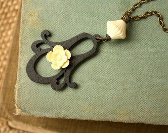 Long Flower Lantern Wood Charm Black and Cream Necklace