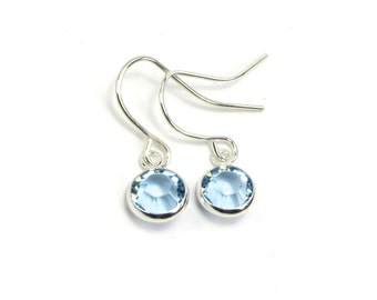March Birthstone Earrings- Aquamarine Earrings- Swarovski Silver Aquamarine Channel Birthstone Earrings- March- Pisces