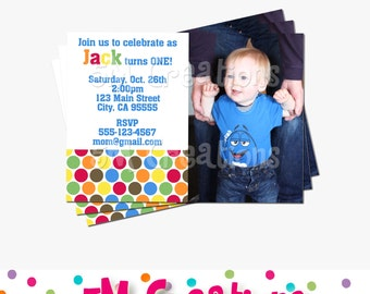 m&m Birthday Party Invitation - m and m Printable Invitation- Polka Dot Party Invitation - Polka Dot Photo Printable Invitation