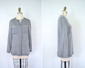 handmade button up gray collarless tunic blouse // work professional liberty top // small