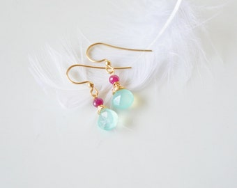 Aqua Chalcedony, Ruby and Gold Teardrop Earrings