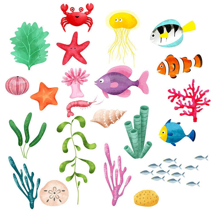 Ocean Life Clip Art and Backgrounds from digicrafts on ...