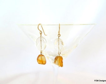 Citrine drop earrings, golden yellow citrine and crystal quartz, gift for under 50