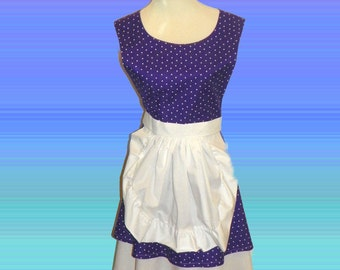 French Maid Apron -  Purple with White Polka Dots