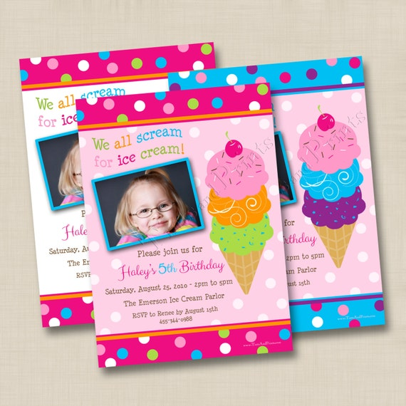 We All Scream For Ice Cream Girl Custom Birthday Party Invitation Design - any age