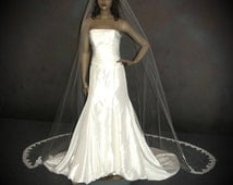 Cathedral Wedding veil with Lace Train - French Alencon lace bridal veil