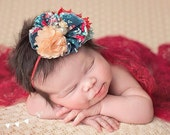 Posies and Picnics- red, peach navy and aqua ruffle and lace headband