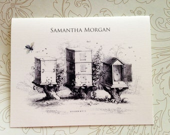 Personalized Stationery, Vintage Bee Hive Note Cards, Set of 6