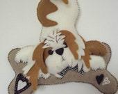 Shihtzu dog in white and tan felt,dog wall plaque,plushie dog,wall art,home decor,housewarming gift,dog toy,stuffed dog,HANDMADE BY FRALINE