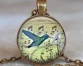 Hummingbird Music pendant, hummingbird necklace, hummingbird jewelry, hummingbird keychain hummingbird pendant