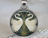Art Nouveau Swans pendant, Walter Crane Swans necklace, Swan jewelry, Swan necklace, Swan couple keychain