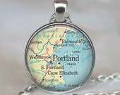Portland, Maine map pendant, Portland Maine necklace Portland pendant Portland necklace map jewelry map keychain key chain