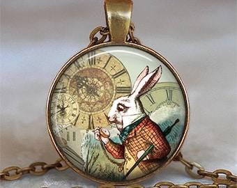 White Rabbit pendant, Alice jewelry, Alice in Wonderland pendant, Wonderland jewelry, White Rabbit necklace, keychain key chain