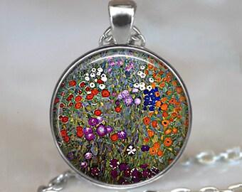 Gustav Klimt's Farm Garden art pendant, Klimt art pendant, Klimt jewelry Klimt jewellery, garden jewelry, resin pendant keychain key fob