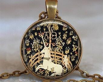 Unicorn in Captivity pendant, Unicorn necklace unicorn pendant unicorn jewelry Unicorn tapestries pendant key chain