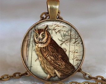Wise Old Owl pendant, owl necklace charm, owl jewelry, owl lover gift, Great Horned Owl pendant, owl keychain, owl key chain key fob