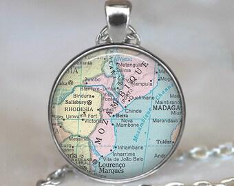 Mozambique map necklace, Mozambique map pendant, Mozambique pendant, Mozambique necklace map jewelry keychain key chain