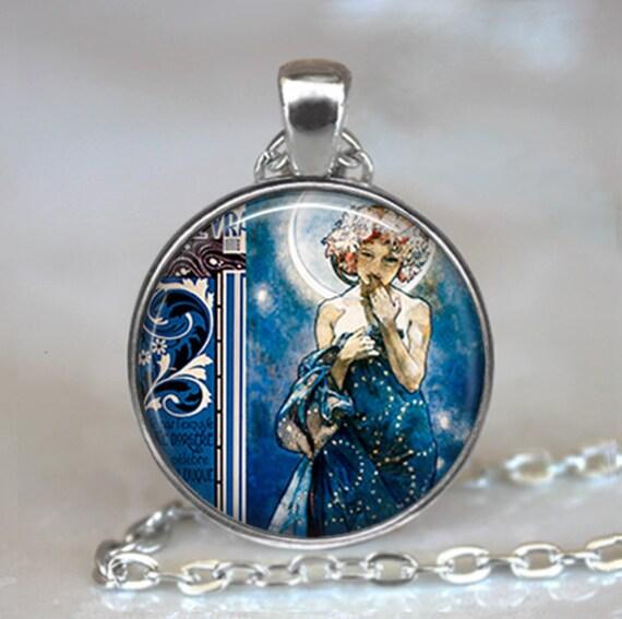 La Luna pendant, Moon Goddess necklace, Moon Goddess pendant Moon Goddess jewelry Mucha art pendant keychain