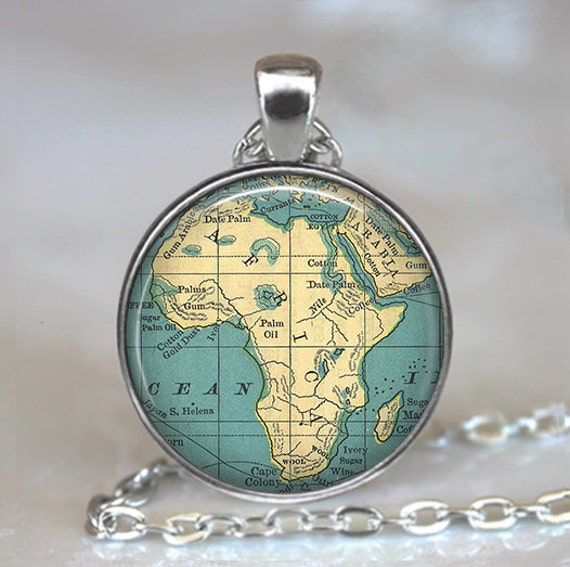 Africa map pendant, Africa map necklace, Africa map jewelry, map jewellry, Africa pendant, Africa necklace, keychain