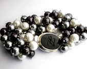 Lagerfeld - Black and White Pearl Bracelet with Karl Lagerfeld Clasp