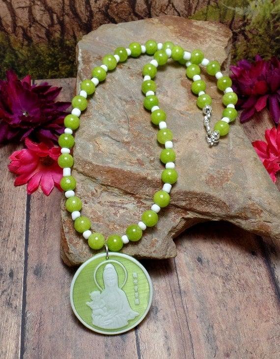 Green Kwan Yin Necklace - Green Beaded Necklace - Kuan Yin - Quan Yin