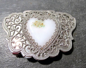 Silver Filigree Glass Heart Buckle VINTAGE Buckle Filigree Openwork Silver Filigree Lampwork Glass White Heart Unique Ready to Wear  (F21)