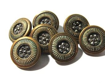 Victorian Diminutive Buttons Seven (7) Antique Glass Center Green Enamel Victorian Buttons Matching Vintage Jewelry Sewing Supplies (D116)