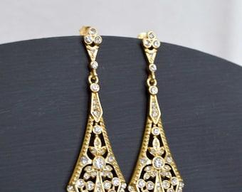 Gold Bridal Chandelier earring, Gold wedding jewelry, Gold earrings, Crystal chandelier earrings,Art deco earrings,Bridal accessories