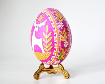 Pink Pysanka batik egg on chicken egg shell Ukrainian Easter egg hand painted egg ornament