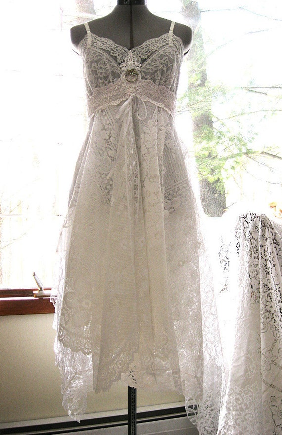 Boho Wedding Dress Size 18 : White lace alternative bride tattered boho gypsy by