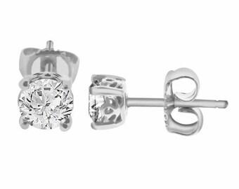 0.82 Carat 14K White Gold Diamond Stud Earrings HandMade