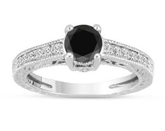 Fancy Black Diamond Engagement Ring 14K White Gold Vintage Antique Style Engraved 1.20 Carat Certified HandMade