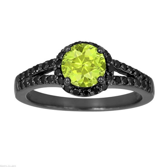 peridot black engagement ring vintage style 14k