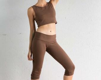 Brown Crop Leggings - Leggings - Capri Leggings - Organic Cotton Leggings - Cropped Leggings - Yoga Pants - Brown Leggings