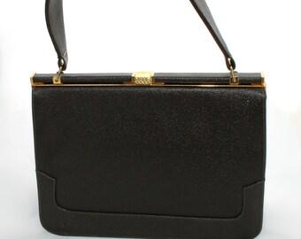 Simple Brown Handbag with Brass Clasp