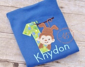 1st Birthday Personalized Embroidered Shirt, Monkey Boy First Birthday Shirt, Blue Monkey Shirt