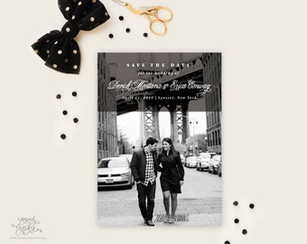 SAVE THE DATE - Modest Classic Design with Grey Heart Patterned Backer Save the Date Cards by Sincerely, Jackie