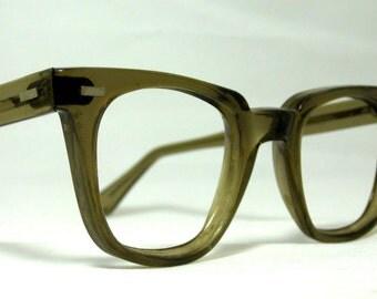 Vintage EyeGlasses Mens Horn Rim Safety Frames. Brown Translucent.