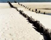 breakwater stakes, seascape photography, summer beach photo, 8x12 print, ocean art, seaside bathroom decor, brown, blue sky, sand dune photo