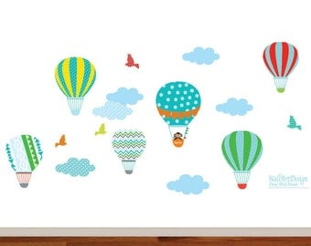 Vinyl Wall Decal  Nursery Wall Decal, Hot Air Balloon,Balloon Wall Decal, Chevron Pattern, Boy Girl Nursery