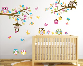 Vinyl Wall Decal  Nursery Wall Decal - Baby Wall Decal - Nursery Wall Decal - Girl - Baby - Owl Branch Decal