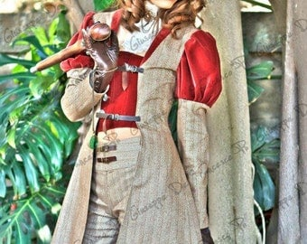 Steampunk complete outfit, jacket, corset, pants, collar. only a size available