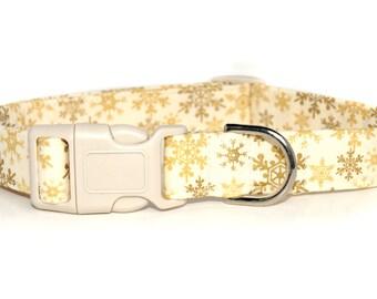 Christmas Dog Collar,, Golden Snowflakes, Holiday snowflakes dog collar