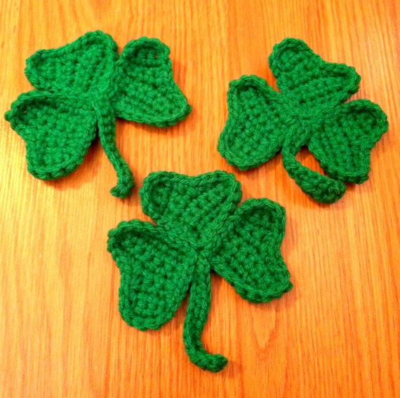 Crochet Shamrock Appliques, Set of 3 Green Clover, St. Patrick's Day Decoration