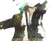 Original Watercolour Fashion Illustration.  Titled - Vogue Italia Cover Glam & Glow