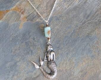 Amazonite Mermaid Necklace, Aqua Mermaid Necklace, Natural Stone Necklace, Sea Necklace, Ocean Necklace, Handmade Necklace Mermaid Jewelry
